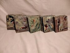 LOT 56 Mid Century Vintage Plastic Wall Tile marbled Gray, Turquoise. Pink