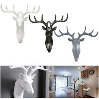Animal Deer Stags Head Hook Wall Hanger Clothes Rack Key Holder Resin Decoration