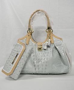 SET Brahmin Elisa Leather Satchel/Shoulder Bag + Checkbook Wallet in Sea Glass