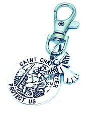 St Christopher Guardian Angel swivel keyring, Lucky bag Charm clip Gift Teacher