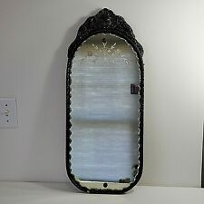 Antique Victorian Parlor Vanity Sitting Room Mirror Scallop Edge Wood Frame Oval