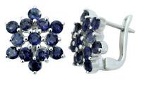 925 Pure Silver Iolite Gemstone Stud Earrings Women Fashion Jewelry-IJVL-SJE385A