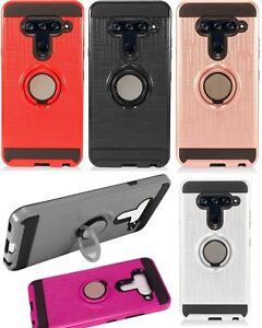 For LG V40 ThinQ / LG V40 Storm - Hybrid Armor Kickstand Magnetic Ring Hard Case