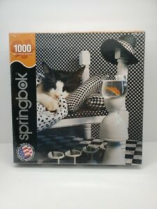 Springbok 1000 Piece Checkerboard Cat Jigsaw Puzzle New