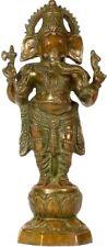 "Master Chaturbhuja Ganesha Standing Bless Jai God Statue 14"" Brass Hindu 3.8 KG"