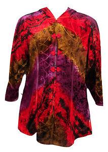 JORDASH Bohemian Embroidered Red Purple Brown Tie Dye Hood Jacket Freesize 12-16