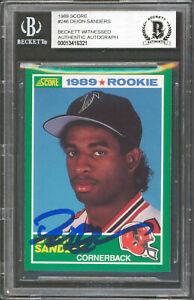 Falcons Deion Sanders Authentic Signed 1989 Score #246 Rookie Card BAS Slabbed