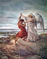 Dore Engraving Jacob Wrestling The Angel Bible Real Canvas Art Print