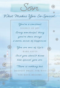 STUNNING SON WHAT MAKES YOU SO SPECIAL 5 VERSE BIRTHDAY GREETING CARD