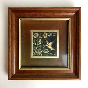 Vintage Small Gold + Copper Painted Hummingbird + Flowers Embossed Relief Framed