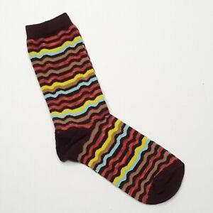 Missoni Womens Socks Target Exclusive 2011 Wavy Stripes Yellow Blue Brown NOS