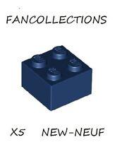 LEGO x 5 - Dark Blue Brick 2x2 - 3003  NEUF
