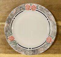 Corelle Silk & Roses Rimmed 7 1/4 inch Bread Salad Dessert Plates