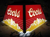 NEW VTG 1985 COORS BEER MOUNTAINS LOGO POKER POOL TABLE LIGHT BAR SIGN HANGING