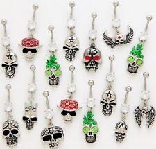 10 CZ Dangle Belly Button Rings 14g Wholesale Gemstone Body Jewelry Navel Skulls