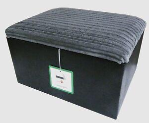 Large Footstool / Storage pouffe In Blacksnake And Grey Jumbo Cord