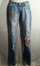MISSLOLA 100% cotton embellished low rise bootcut jeans size 28 inseam 32