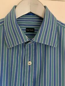 "Paul Smith Mens Blue & Green Stripe Shirt 15.5"""