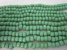 Green Opague Glass Crow Pony Beads Jewelry Craft Bead  Necklace 100 pcs 9 x 6MM