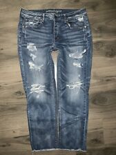 American Eagle Tomgirl Button Fly Distressed Jeans Raw Hem Sz 14