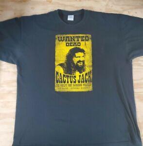 Vintage Cactus Jack 2XL Wanted Dead T-Shirt Mick Foley WWE WWF ECW FMW