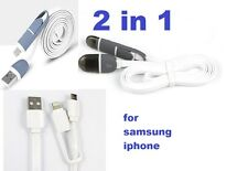 Micro USB 2 in1 Data Charger Adaptor Lightning Sync Cable For Samsung Iphone New
