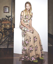 BLUMARINE Beige Tulle Sheer Floral Embroidered Dress Gown 42  6