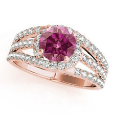 0.89 Carat Pink Diamond Halo Ring Best Price 14k Rose Gold Valentineday Spl.Sale