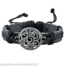 Punk Women Men Unisex Fashion Charms Black PU Leather Bracelet Bangle Jewelry