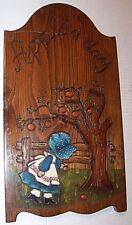 AN APPLE A DAY WOODEN PLAQUE - COUNTRY GIRL/APPLE TREE BURNED INTO WOOD - PAINTE