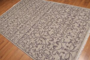 6' x 9' Hand Knotted Transitional 100% Wool Oriental Area Rug AOR8606 Gray 6x9