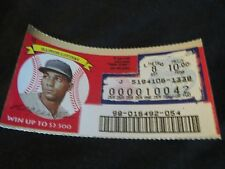 1996 Illinois Scratched Lottery Ticket of Billy Williams of the Chicago Cubs