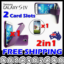 Samsung Galaxy S4 i9500 Telstra Purple Card Slot Leather Flip Pouch Case Cover