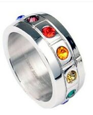 Chunky Molded Rainbow Gay Lesbian Pride Band Design Stainless Steel Ring Sz 6