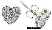 heart stud earrings micro pave white CZ 925 sterling 8x8 mm ladies teen love