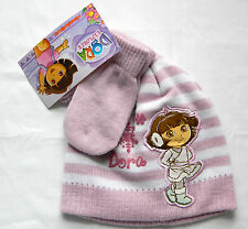 NWT Girl's Toddler Dora Lavender Striped Winter Beanie Cap & Mitts Set