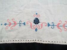 Vintage Rosa & Blau Stickerei Leinen Handtuch EMB Küche Geschirrtuch TW211