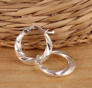 Solid 925 Sterling Silver Twisted Creole Hoop Earrings Huggie 18mm Gift Boxed
