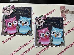 2 x Decoupage Pictures of Engagement Owls Theme Toppers