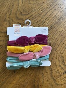 Just One You Baby Girls' 4pk  Velour Bow Headwrap  headband