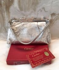 CARTIER Silver Distressed Leather Panther Miniature Convertible Clutch Bag