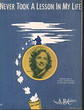 Never Took A Lesson In My Life 1940 Connie Boswell Sheet Music