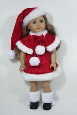 4pc Red Santa Dress Cape Hat Snow Boots Doll Clothes For 18 American Girl (Debs)