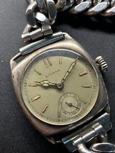 1936 Solid Silver Eterna Cal 520 Radium Radial Dial Cushion Case