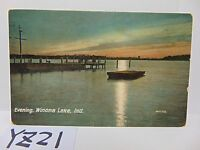 VINTAGE POSTED POSTCARD STAMP 1908 PICTURE EVENING WINONA LAKE INDIANA IN. SCENE