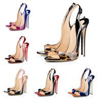 Onlymaker Women's Peep Toe Slingback Sandals Pumps High Heeled Leopard Stilettos