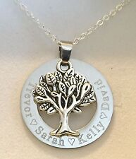 Personalised Engraved family tree pendant necklace gift for mum choose names