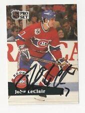 91/92 Pro Set Autographed Hockey Card John LeClair Montreal Canadiens