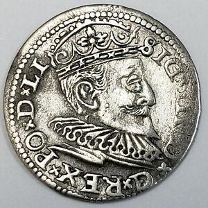 1594 Polish Lithuanian 3 Grossus Silver Sigismund III Vasa Livonia Coin *PL9405