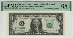 2003 $1 FEDERAL RESERVE NOTE RICHMOND RADAR SERIAL TOP POP PMG SUPERB GEM 68 EPQ